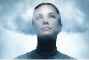 Woman with cloud
